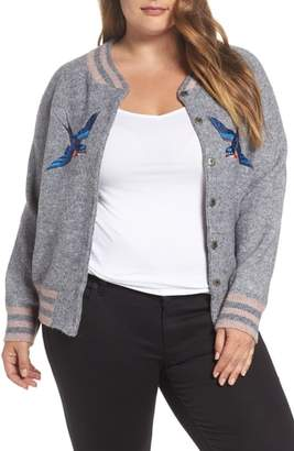 Junarose Zanja Embroidered Knit Bomber Jacket