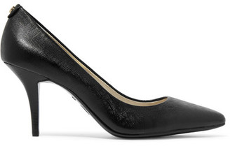 MICHAEL Michael Kors - Flex Textured-leather Pumps - Black $100 thestylecure.com