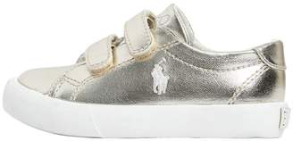 Ralph Lauren Logo Metallic Leather Strap Sneakers