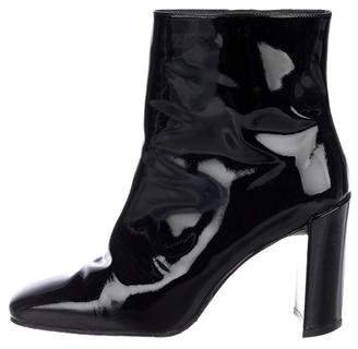 Stuart Weitzman Patent Leather Square-Toe Ankle Boots