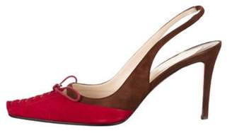 Christian Louboutin Suede Slingback Pumps Red Suede Slingback Pumps
