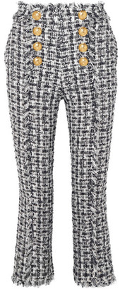 Balmain Cropped Button-embellished Tweed Bootcut Pants - Blue