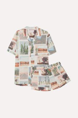 Desmond & Dempsey Printed Cotton-voile Pajama Set - White