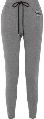 Markus Lupfer Lara Appliquéd Metallic Cotton And Lurex-blend Track Pants - Silver