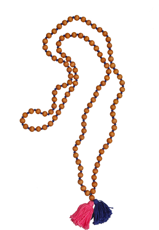 Rare Rabbit Tan Beads With Tassels Necklace