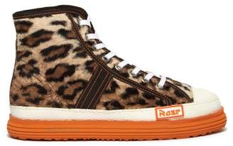 Martine Rose Leopard Faux Fur Basketball Trainers - Mens - Brown Multi