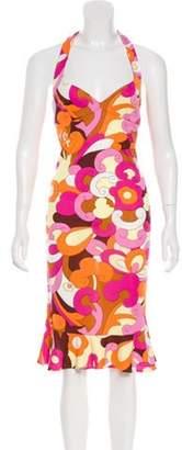 Dolce & Gabbana Flounced Halter Dress Pink Flounced Halter Dress