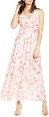 Leith Ruched Waist Chiffon Maxi Dress