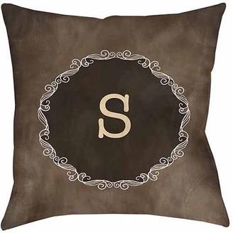 Thumbprintz Chalkboard Scroll Monogram Neutral Decorative Pillows