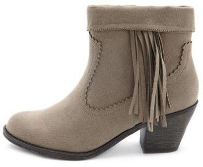 Charlotte Russe Sueded Fringe Low-Heel Boot