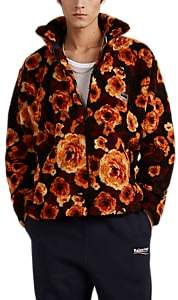 Martine Rose Napa by Men's Floral Sherpa Oversized Zip-Front Jacket - Brown