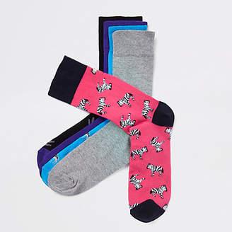 River Island Pink zebra print socks multipack