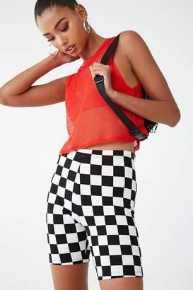 Forever 21 Checkered Print Biker Shorts