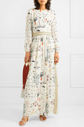 Tory Burch Floral-print Silk Crepe De Chine Maxi Dress - Ivory