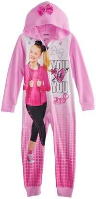 Jo-Jo Jojo Siwa Girls 6-12 JoJo Siwa Hooded One-Piece Fleece Union Suit Pajamas