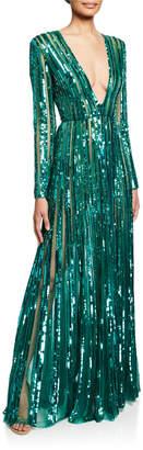 Elie Saab Sequin V-Neck Long-Sleeve Semisheer Gown
