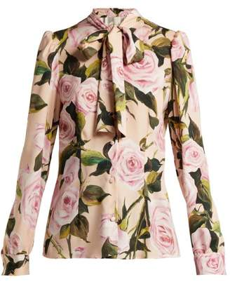 Dolce & Gabbana Floral Print Silk Charmeuse Pussy Bow Blouse - Womens - Pink Print