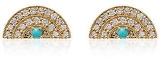 Andrea Fohrman 18K yellow gold diamond and turquoise rainbow earrings