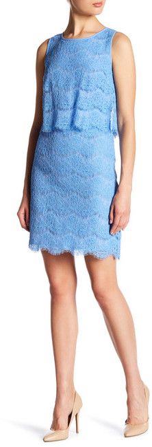Anne Klein Anne Klein Sleeveless Lace Popover Dress