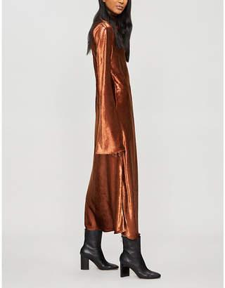 Ellery Gotham high-neck fluted-sleeve velvet midi dress