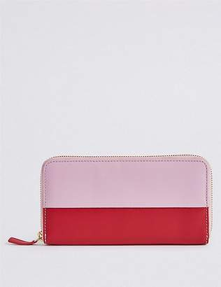 Marks and Spencer Leather Colour Block Zipped Purse