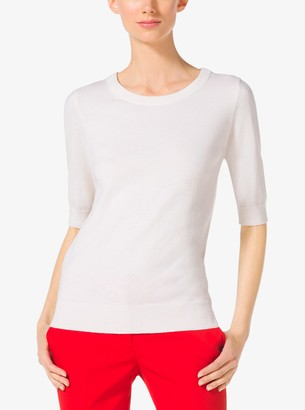 Michael Kors Elbow-Sleeve Cashmere Sweater