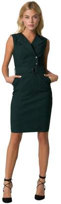 Le Château Women's Tech Stretch Belted Shirtdress,M