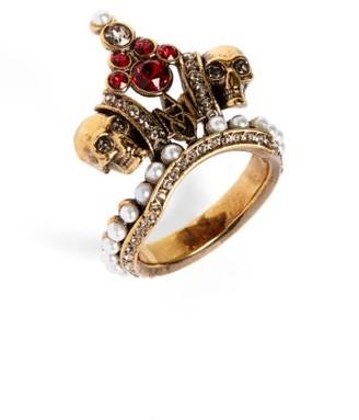 Women's Alexander Mcqueen Crown Skull Statement Ring $475 thestylecure.com