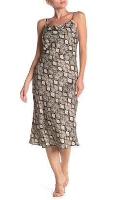 KENEDIK Snake Print Drape Neck Slip Dress