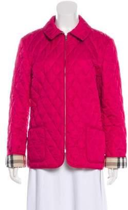 Burberry Quilted Zip-Up Jacket Magenta Quilted Zip-Up Jacket