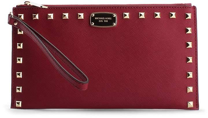 Michael Kors Cherry Sandrine Stud Large Leather Clutch - CHERRY - STYLE