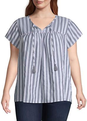 ST. JOHN'S BAY Stripe Fultter Sleeve Top - Plus