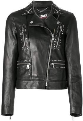 Karl Lagerfeld X Kaia Stud Leather Biker