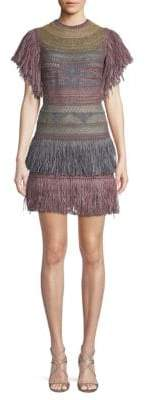 Valentino Fringe Removable Neck Piece Mini Sheath Dress