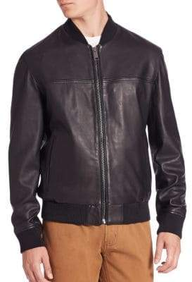 Saks Fifth Avenue MODERN Zip-Front Leather Bomber Jacket