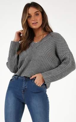Showpo Dangerous World Knit sweater in Grey - 8 (S) Long Sleeve Tops