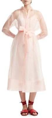 247262ff292 Maje Roane 2-in-1 Organza Midi A-Line Shirt Dress Slip Dress