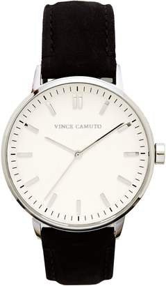 Vince Camuto Black Classic Suede Band Watch