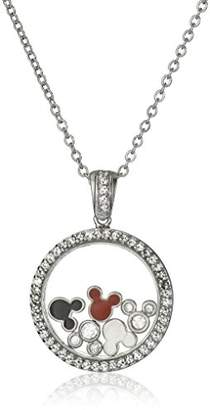 Disney Mickey Cubic Zirconia and Floating Mickey Chain Pendant Necklace