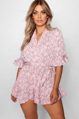 boohoo Plus Woven Floral Wrap Ruffle Playsuit