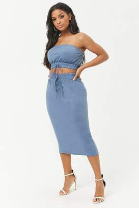 Forever 21 French Terry Cropped Tube Top & Midi Skirt Set