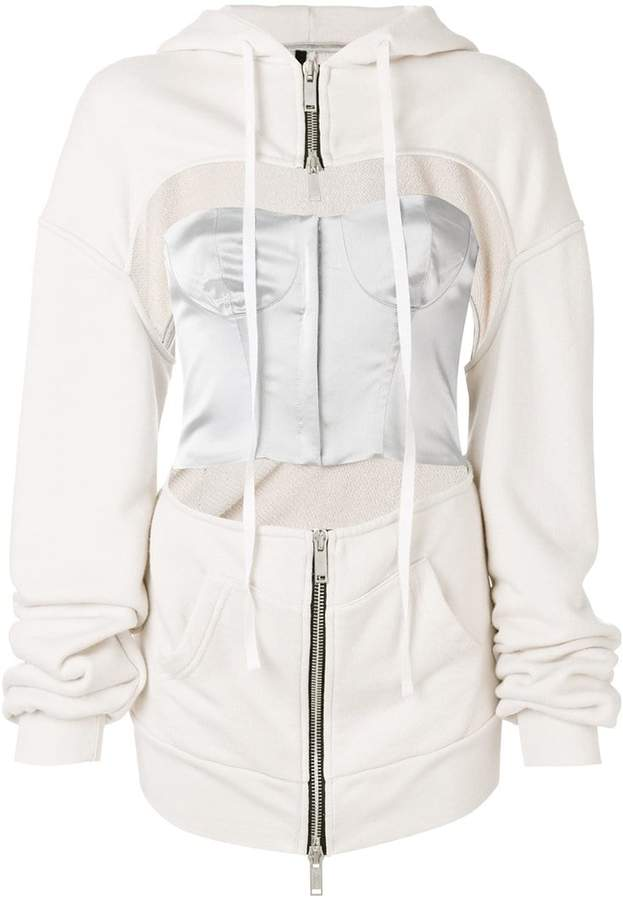 Unravel Project cut-out detail zipped hoodie