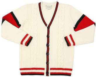 Gucci Merino Wool Cardigan W/ Web Details