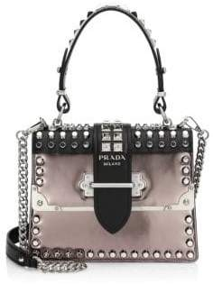 Prada Studded Cahier Leather Top Handle Bag