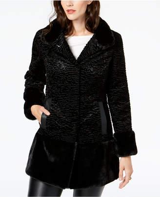 Jones New York Textured Faux-Fur Coat