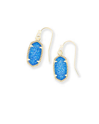 Kendra Scott Lee Gold Drop Earrings in Cobalt Drusy