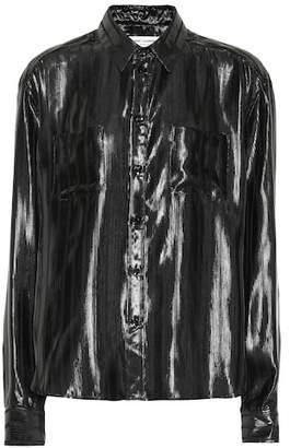 Saint Laurent Silk-blend lamé shirt