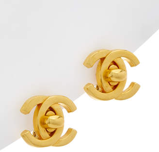 Chanel Gold-Tone Medium Cc Turnlock Earrings