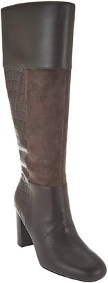 Isaac Mizrahi Live! Leather & Suede Tall Boots with Embossing