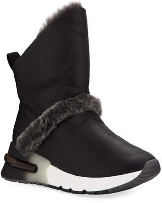 Ash Kilma Napa Leather Sneakers w/ Shearling Trim